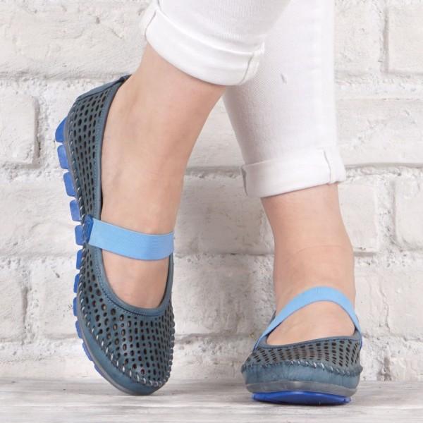 Дамски Обувки сини мокасини 707