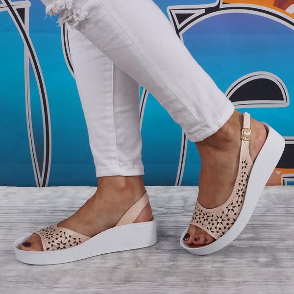 Дамски Обувки сандал пудра лаз цв 73