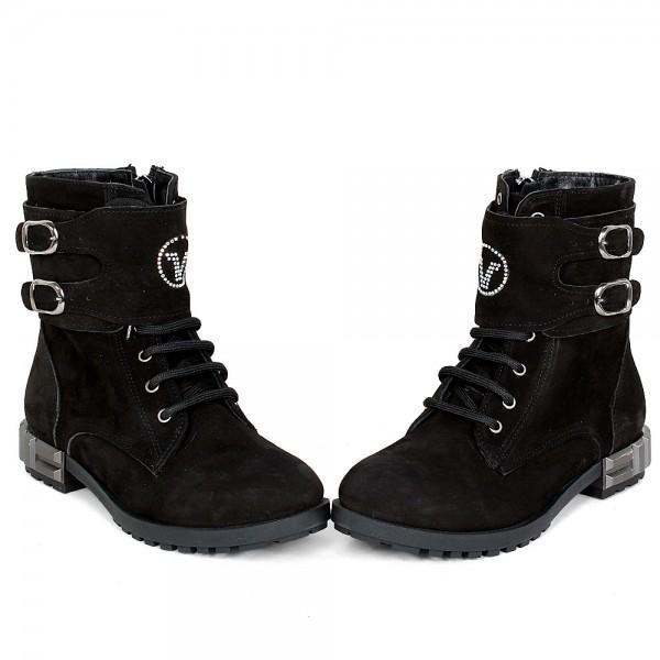 Дамски Обувки Бота черен велур 106