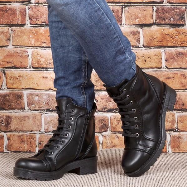 Дамски Обувки Бота черна кожа 1589