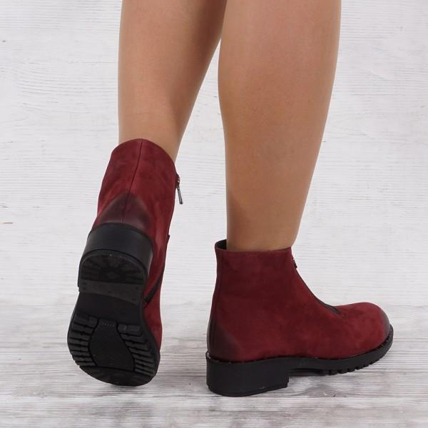 Дамски Обувки Бота бордо набук 1617