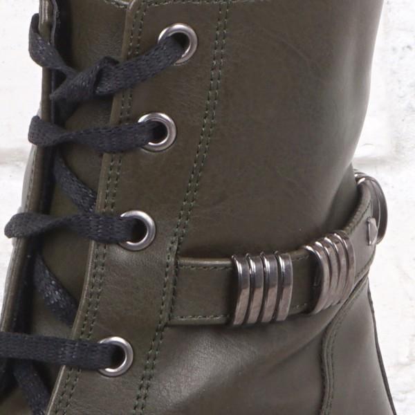 Дамски Обувки бота еко зелена 1330