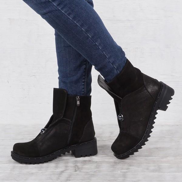 Дамски Обувки бота черен велур и сатен 2049