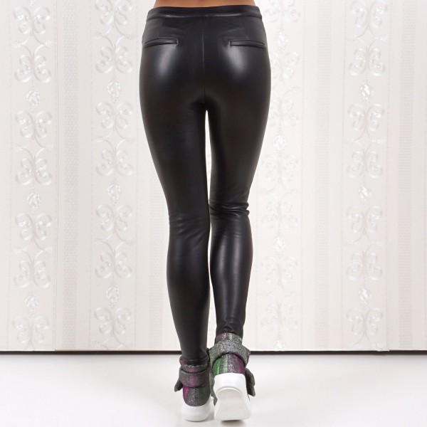 Дрехи Дам.кожен панталон черно/цип джоб 2281