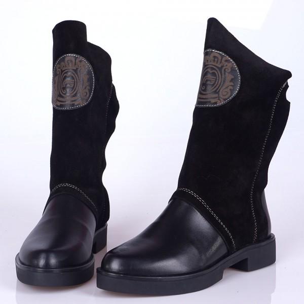 Дамски Обувки черно/к.+велур/бота 376